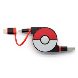 cheero CHE-245-RE cheero 2in1 Retractable USB Cable with Lightning & micro USB POKEMON version 70cm