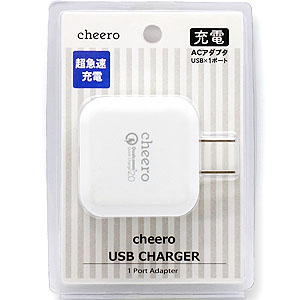 チーロ cheero cheero Quick Charge 2.0 technology USB Charger CHE-314-WH